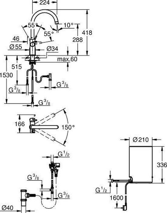 GROHE Red Compact 3IN1 kokendwaterkraan - C uitloop - 4L boiler - Chroom - 30374001