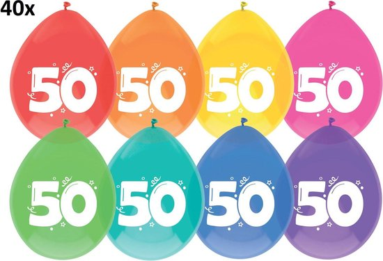40 x Ballonnen 50 jaar multicolor
