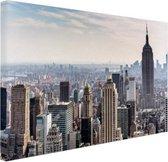 New York City Skyline Canvas 80x60 cm - Foto print op Canvas schilderij (Wanddecoratie woonkamer / slaapkamer) / Steden Canvas Schilderijen