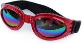 N.T.S. Zonnebril voor honden - Rood - 100 % UV Zonnebril - Zon, Herfst bos, strand en Winter sneeuw bescherming -Verstelbaar - Comfortabel voor de hond - Honden zonnebril - Bescherming insecten o.a.  Eikenprocesiserups geïrriteerde ogen
