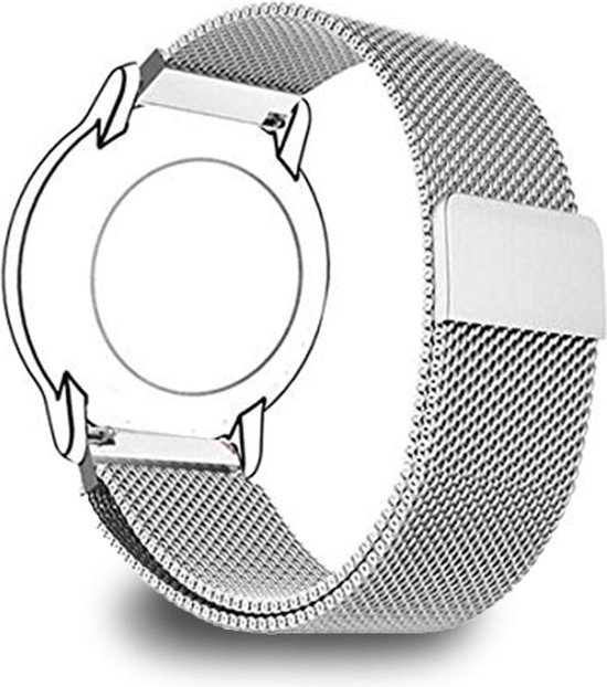 Milanees Smartwatch Bandje - Bescherm Band cover voor Garmin Vivoactive 3 (music), Vivomove (HR), Foreruner 645 en 245 & Samsung galaxy watch 42mm (3, 41mm), Gear Sport, Active (2) - Zilver