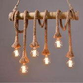 Retro Touw Hanglamp Bamboe | Vintage Scheepstouw met 6 Fittingen Hang Lamp | Bamboo Vintage Filament Light | Bamboe Verlichting incl 6 Edison Lampen
