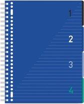 4in 1 blok A4 gelinieerd, blauwe cover