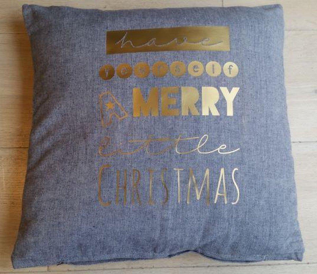 Kerstkussen sierkussen Kussenhoes tekst kussen kerst kerstversiering decoratie kussensloop kussentje hoes   grijs 40x40 met goud opdruk  glitter Have