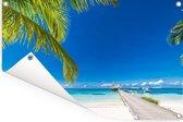Lange steiger met de parelwitte stranden op Bora Bora Tuinposter 120x80 cm - Tuindoek / Buitencanvas / Schilderijen voor buiten (tuin decoratie)