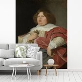 Fotobehang vinyl - Portret van Gerard Andriesz Bicker - Schilderij van Bartholomeus van der Helst breedte 255 cm x hoogte 340 cm - Foto print op behang (in 7 formaten beschikbaar)