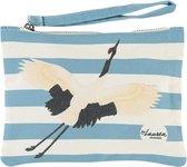 Lauren Sterk Amsterdam - canvas etui met rits - make-up tasje - pennenhouder - small - paradijsvogel - blauw