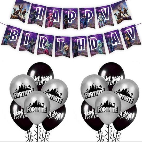 12x Fortnite ballonnen met Happy Birthday slinger | party | feestje | verjaardag