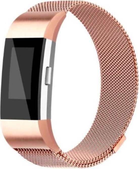 YONO Milanees bandje - Fitbit Charge 2 - Rose Gold - Small
