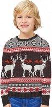 Unisex Kersttrui Happy Reindeers - Bruin - Maat 140