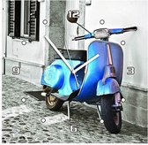 scooter - Klok - Vierkant - MDF - 30x30 cm - blauw
