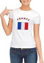 Wit dames t-shirt met vlag van Frankrijk S