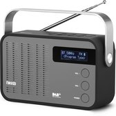 Nikkei NDB40BK - Draagbare DAB+ Radio met PLL FM, Bluetooth en USB, Micro-SD en AUX-in - Grijs/Zwart