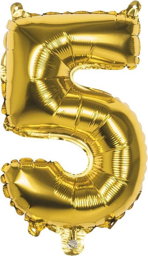 Folieballon nummer 5 goud (36 cm)