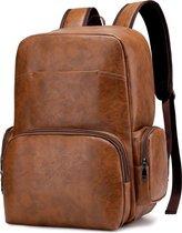 Leren Heren Rugzak - Lederen Business Backpack - Geschikt voor 15.6 inch Laptops