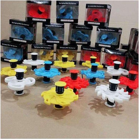 Afbeelding van het spel Springing Flip Spinner - Fidget Spinner met Springveer functie - Speelgoed jongens Wit / Geel / Rood
