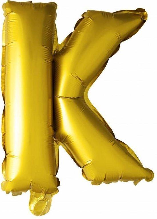 Folie Ballon Letter K Goud 41cm met rietje