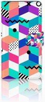 Nokia 2.1 (2018) Bookcase Hoesje Design Blocks Colorful
