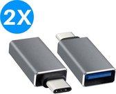 USB-C naar USB-A Adapter Converter - Opzetstuk - geschikt voor MacBook en andere USB-C apparaten - Universeel - Grijs - 2 stuks