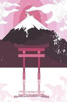 Japanese shrine with mountain in pink