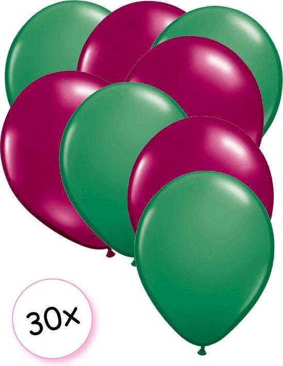 Ballonnen Groen & Fuchsia 30 stuks 27 cm
