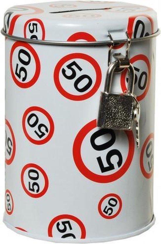 Spaarpot 50 jaar met verkeersbord
