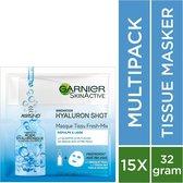 Garnier Skinactive Face SkinActive Fresh-Mix Hyaluronzuur Sheet Mask - 15 Stuks - Voordeelverpakking - Gezichtsmasker voor Intense Hydratatie