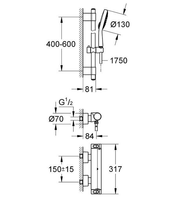GROHE Grohtherm 2000 New Thermostatische Douchekraan - Met doucheset - 15 cm hartafstand - Chroom