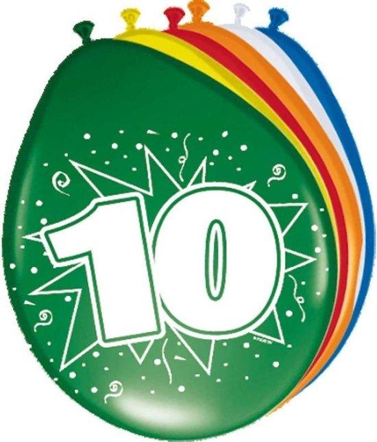 8x stuks Ballonnen versiering 10 jaar