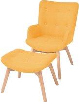 vidaXL Fauteuil met voetenbankje stof geel