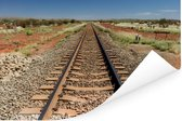 Een spoorweg gefotografeerd tijdens een zonnige middag Poster 90x60 cm - Foto print op Poster (wanddecoratie woonkamer / slaapkamer)