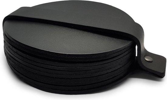 Leren Onderzetters  - Rond - 10 stuks - Zwarte onderzetters - Onderzetters van leer - Ronde onderzetters - Onderzetters voor glazen