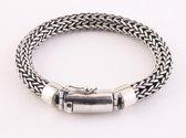Zware ronde gevlochten zilveren armband met kliksluiting - pols 17 cm
