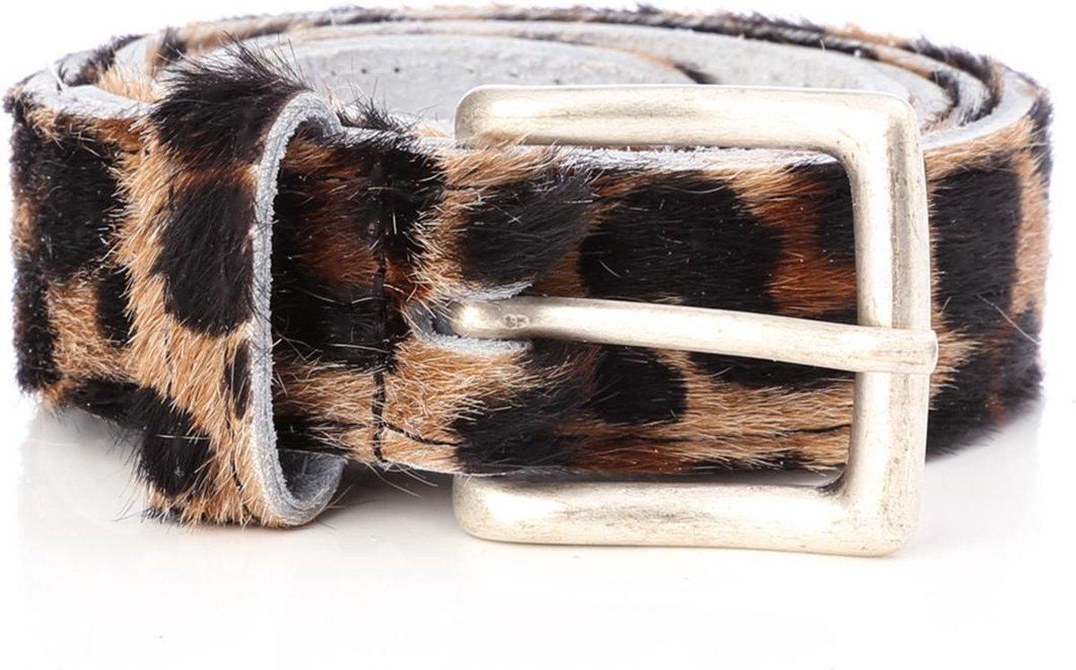 Tannery Leather Dierenprint Damesriem Leer - Panter - 105 cm - Tannery Leather