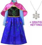 Anna jurk - Prinsessenjurk met cape - Roze - Maat 116-122 (130) + Gratis Ketting