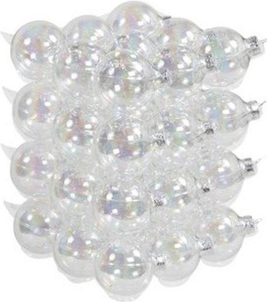 36x Transparante parelmoer glazen kerstballen 6 cm - mat/glans - Kerstboomversiering transparant/helder