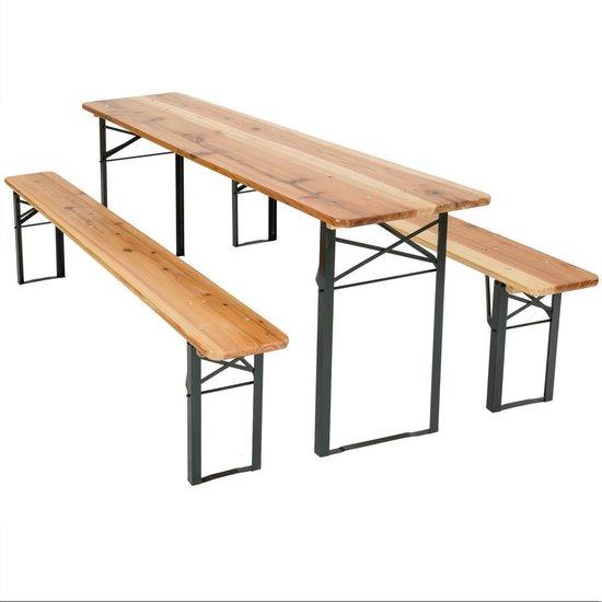 Biertafel met banken - 175x50x76 cm - Dennenhout