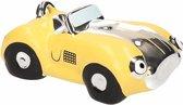 Spaarpot gele sportauto cabriolet 14 cm