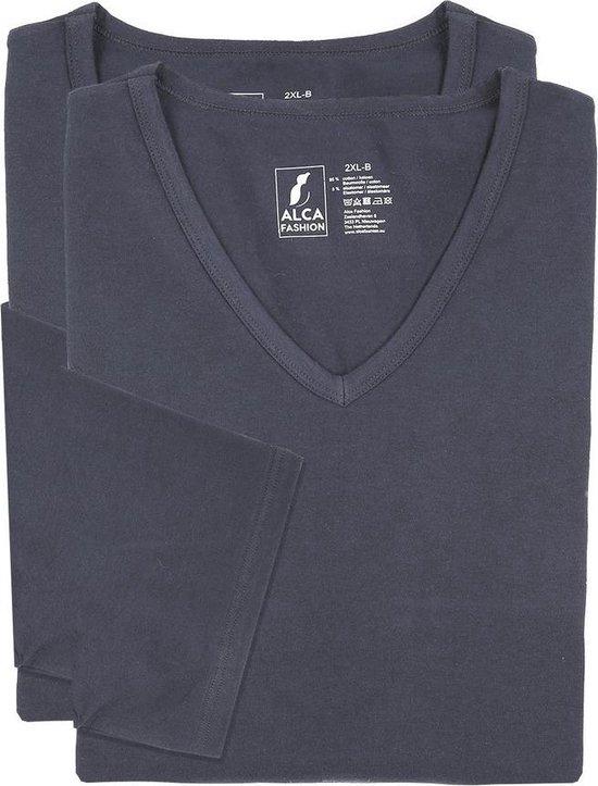 3xl 2pack T-shirt Heren V-hals Grijs | Grote Maten Buikmaat 129 -137...