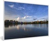 Foto in lijst - Schitterende horizon in Calcutta India fotolijst wit 60x40 cm - Poster in lijst (Wanddecoratie woonkamer / slaapkamer)