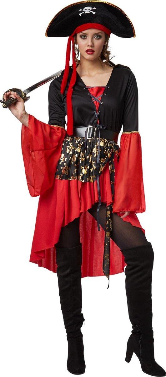 dressforfun - Vrouwenkostuum piratenkoningin S  - verkleedkleding kostuum halloween verkleden feestkleding carnavalskleding carnaval feestkledij partykleding - 301774