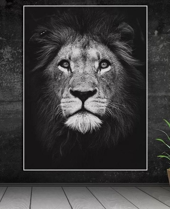 Bol Com Cadeau Tip Design Canvas Poster Leeuw Muurdecoratie 40 X 60cm