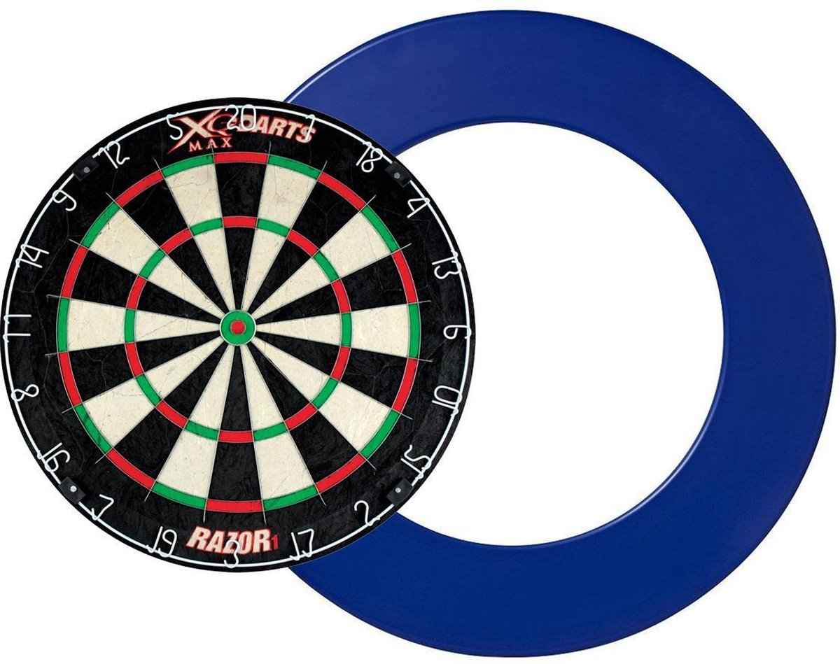 Dragon darts - XQ Max Razor 1 PRO - dartbord - inclusief - dartbord surround ring - blauw - dartbord bescherm ring