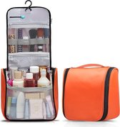 TravelMore Reis Toilettas Hanging met Haak - Travel Etui Organizer voor Toiletartikelen Kamperen & Reizen Accessoires - Toiletry Bag voor Dames en Heren – Orange