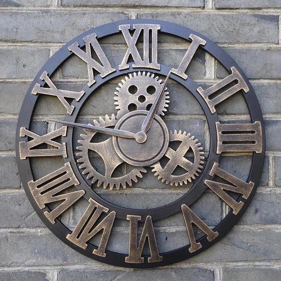 Time4Home Grote Wandklok - Hout - 45 cm - Kleur brons