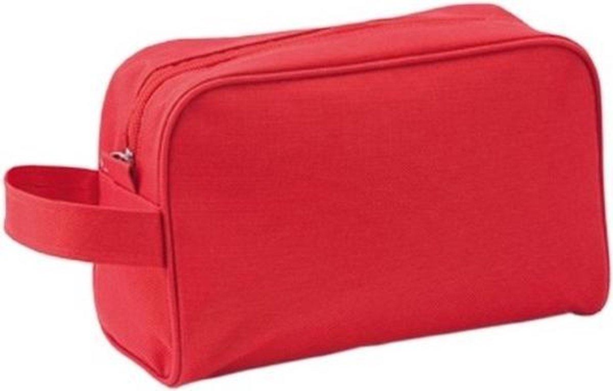 Toilettas rood met handvat 21,5 cm voor kinderen - Reis toilettassen/etui - Handbagage