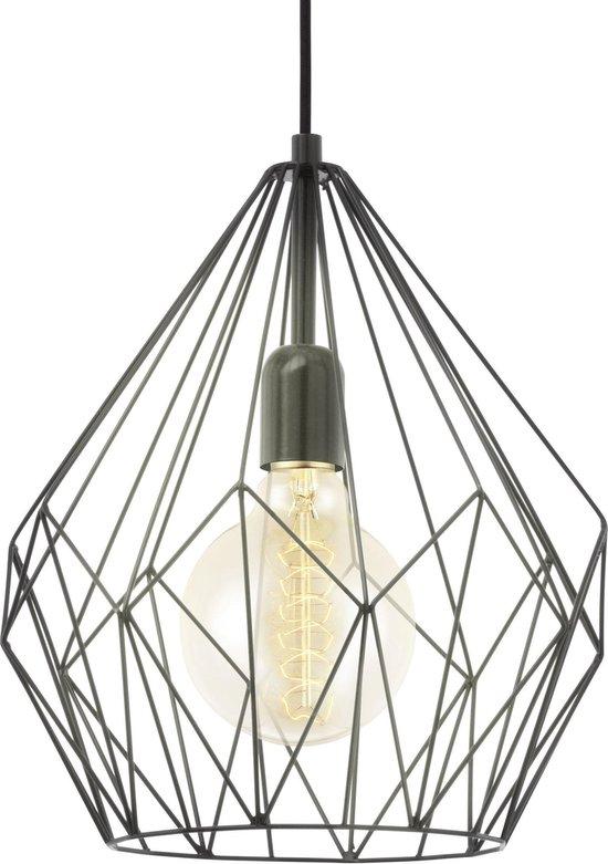 EGLO Vintage Carlton - Hanglamp - 1 Lichts - Ø310mm. - Zwart