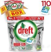 Dreft Platinum Original Vaatwastabletten - Kwartaalbox - 5 x 22 Stuks