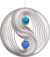 BlinQ Art Windspinner Yin Yang RVS - 234mm rond - Glaskogel 35mm 1xblauw 1x turkoois