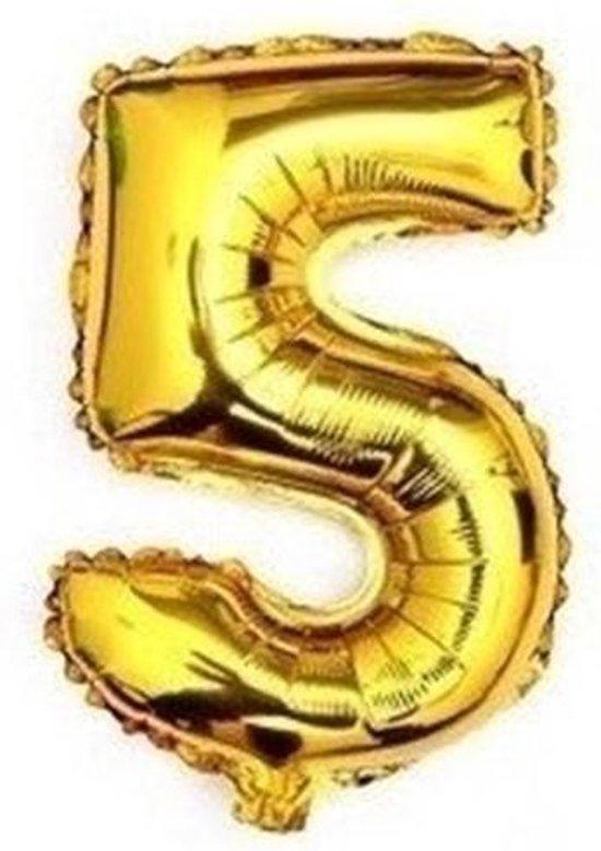ballon - 41 cm - goud - cijferballon - cijfer 5